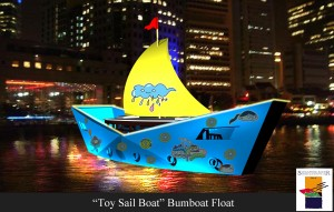 """Toy Sail Boat"" Bumboat Float"